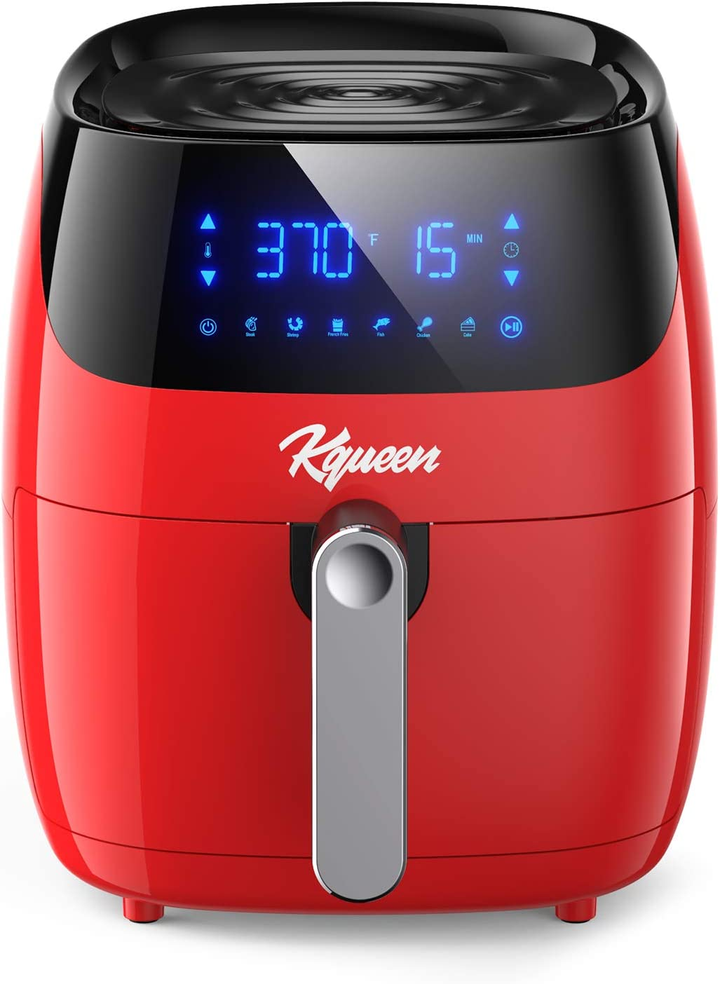KQUEEN Air Fryer, 4.7QT Airfryer Oven with Digital Touch Screen, 80 Recipes and 6 Preset Menus, 1400W Electric Hot Air Fryers with Nonstick Basket, Auto Shut Off, Overheat Protection, ETL Listed, Red