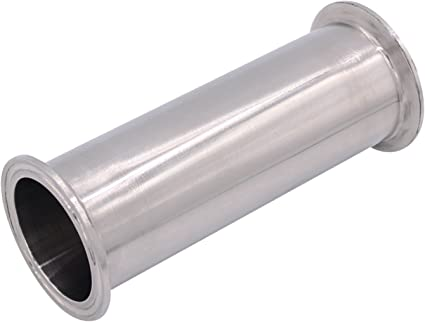 Tube Length: 24 Inch // 610MM Sanitary Spool Tube with Clamp Ends,Stainless Steel 304 Seamless Round Tubing with 2 inch Tri Clamp 64MM Ferrule Flange