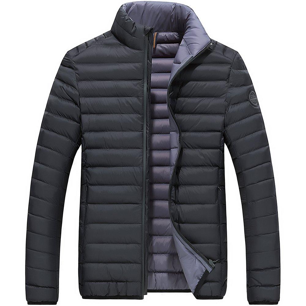 Chaqueta Acolchado de otoño/Invierno de Hombre, Parka Forrado Bicolor de Cuello Alto sin/con Capucha, 3 Colores Negro S (Etiqueta L) 8711downjacket