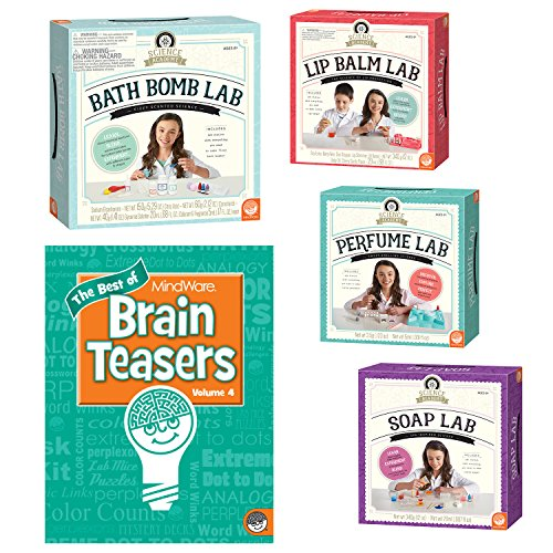 Science Academy Clean Chemistry Kits: Set of 4 with BONUS Brainteaser Book