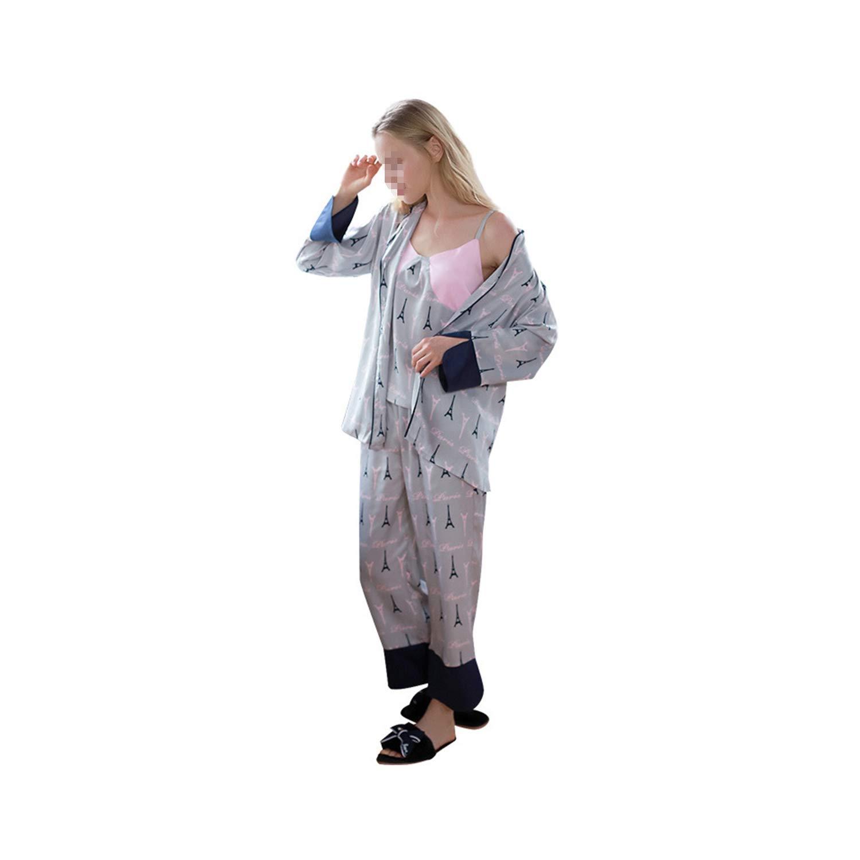 Ladies' Pajamas ThreePiece Suit Printing Wide Pine Casual Wear Lapel Long Sleeve Button Design