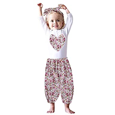 90b192695a99 Amazon.com  Lurryly 3Pcs Newborn Baby Romper Jumpsuit+Floral Pants Kids  Clothes Outfit Apparel 0-2T  Clothing
