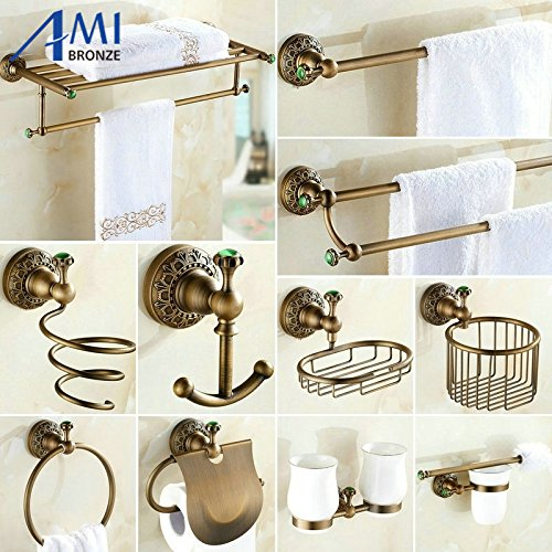 Generic double basket only : Antique Brushed Copper Carved Bluee Jade Bathroom Accessories Bath Towel Rack Towel Bar Paper Holder Cloth Hook BS20 B07192HJ9C