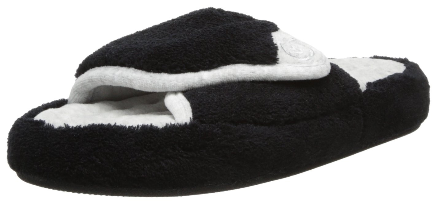 ISOTONER Women's Microterry Pillowstep Spa Slide, Black, 6.5/7