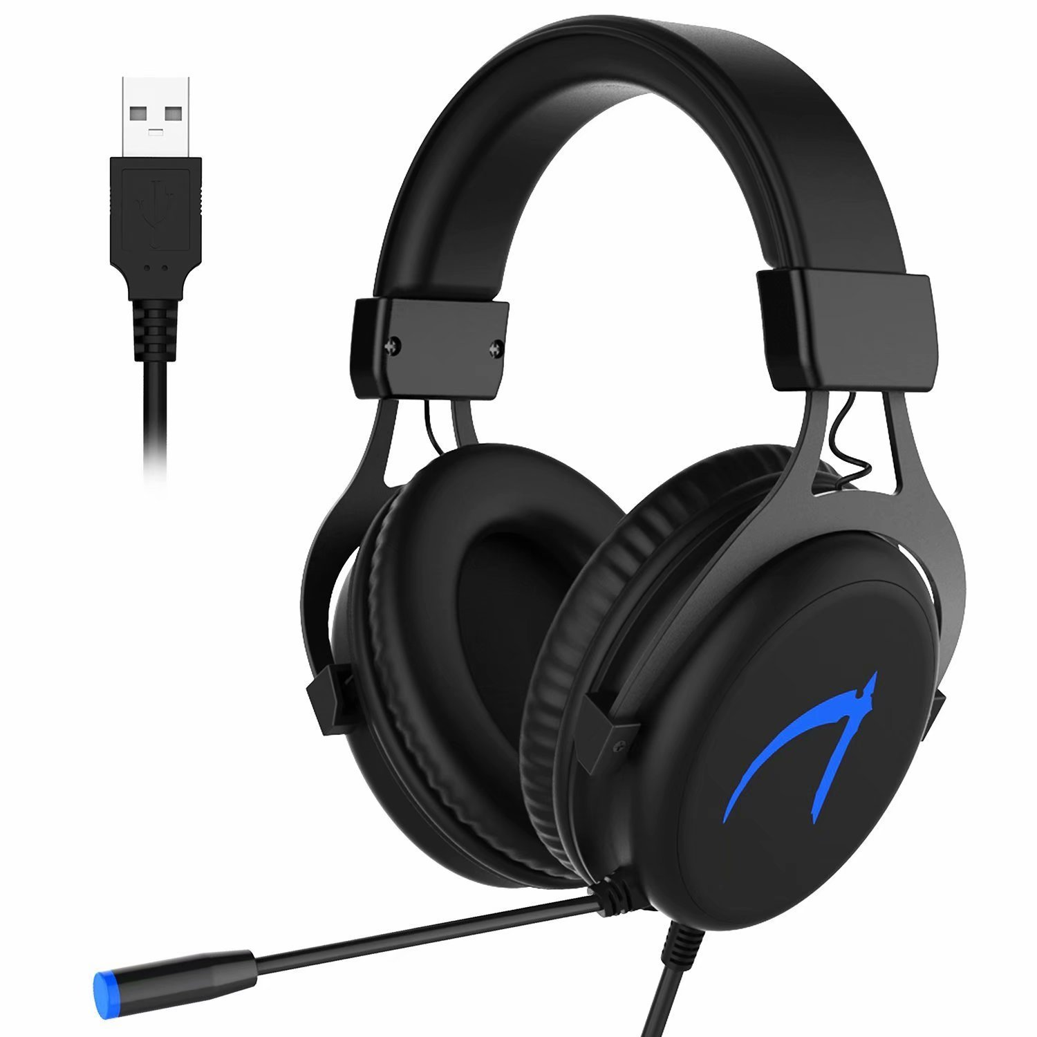 USB Headset KSHOP Profession 7.1 Gaming Headset Surround Stereo Sound USB With Led Microphones Computer Music Headphones For PC- Black(With 7.1 CD driver)
