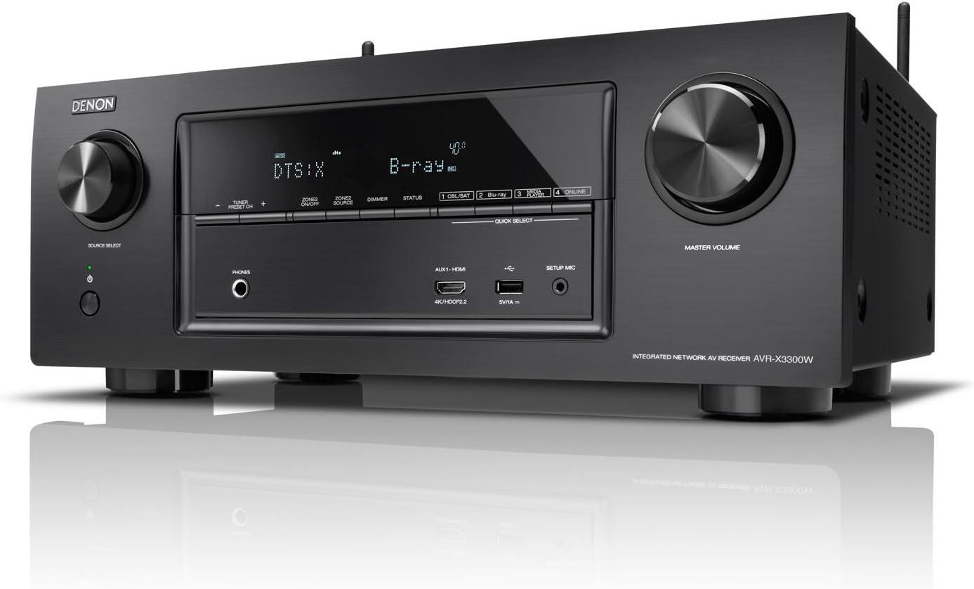 Denon AVR-X3300W 105W 7.2canales Envolvente 3D Negro - Receptor AV (105 W, 7.2 Canales, Envolvente, 180 W, 0,05%, 100 dB)