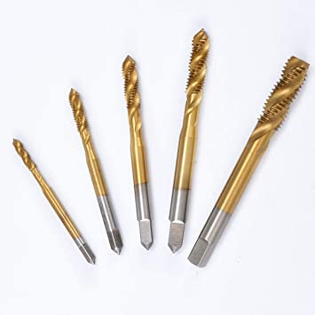 5pcs Titanium Coated HSS Spiral Fluted Screw Taps Hand Threading Taps Thread Tapping Tool M3 M4 M5 M6 M8