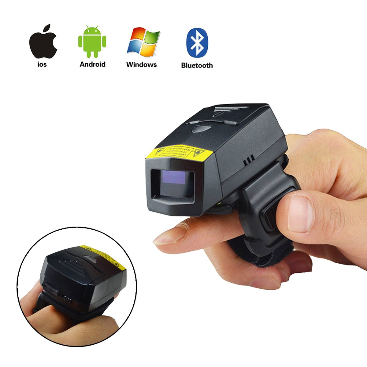 Bluetooth Barcode Scanner, POSUNITECH Barcode Reader Wireless 1D Wearable Ring-style Portable Mini FS01 Support IOS Android Windows by POSUNITECH