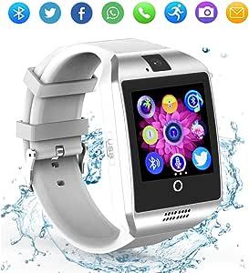 Reloj inteligente Bluetooth con cámara, pantalla táctil, reloj inteligente con ranura para tarjeta SIM/TF, reloj inteligente deportivo, rastreador de fitness, relojes inteligentes para smartphones Android, Samsung Motorola, hombres, mujeres y niños (blanco)