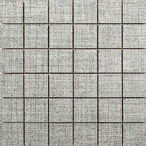 Flooring Mosaic Canvas - Emser Tile F72CANVTW1212MO Canvas - Square Mosaic Floor and Wall Tile - Textured Fabric Visual