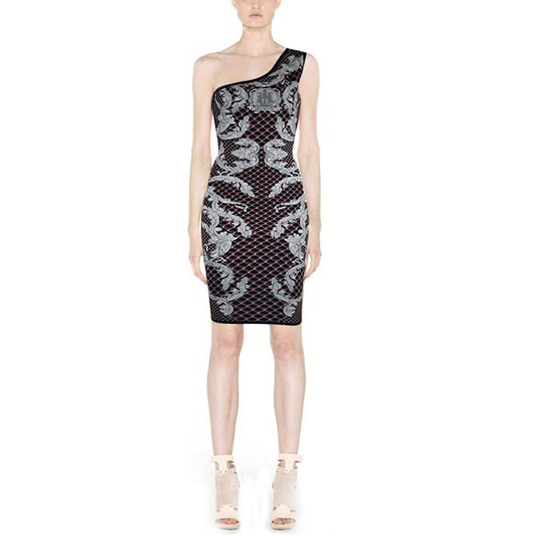 Hlbcbg One Shoulder Women's Rayon Bandage Bodycon Dress 2184