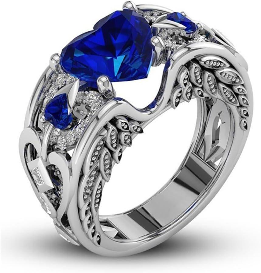 Toamen Anillo De Plata De Con Estilo Y Elegante Mujeres  Piedras Preciosas Naturales De Rubí Anillo De Compromiso De Boda De La Novia (Tamaño6 (16mm), azul)