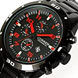 Fanmis Mens Watches Red number Black PVD Stainless Steel Calendar Analog Quartz Watch