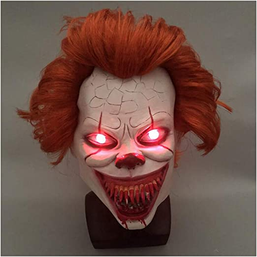 Cabeza Completa Realista con Cabello XUMING M/áscara de Payaso de Halloween Luz LED Suave y c/ómodo para Accesorios de decoraci/ón de Cosplay para Fiestas de Adultos