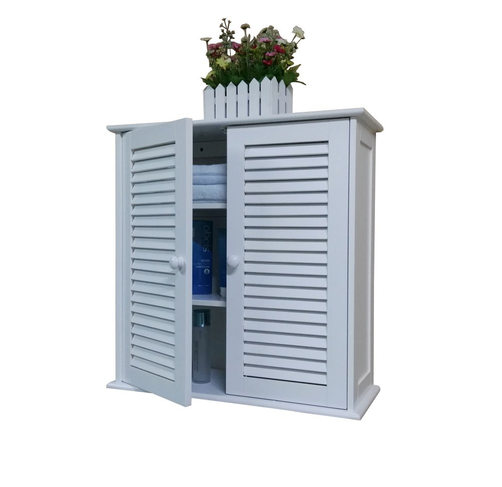 Homecharm-Intl 60x23x61CM Wooden wall cabinet cupboard,2 louvered doors,white (HC-011)