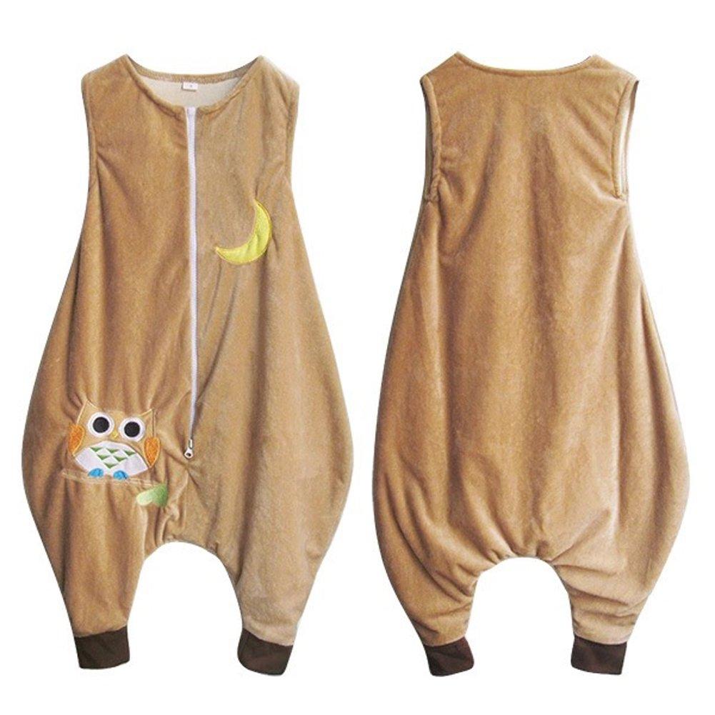 ZEEUAPI - Saco de dormir de franela para bebés niños infantíl Ropa para dormir (L (5-6 años), Caqui - búho): Amazon.es: Hogar