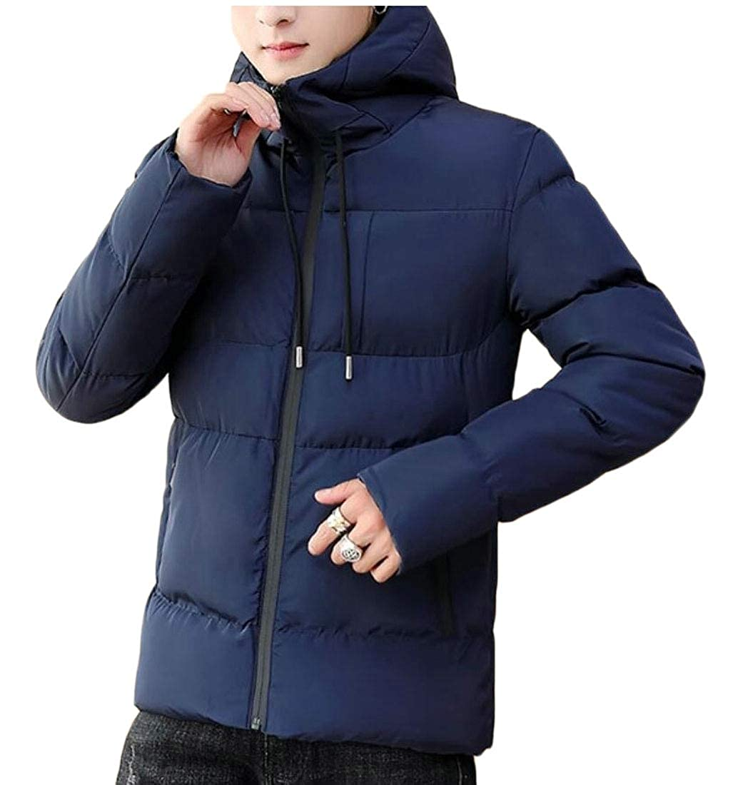 XQS Mens Hoodie Thicken Coat Padded Down Jacket Solid Pocket Zipper Outwear