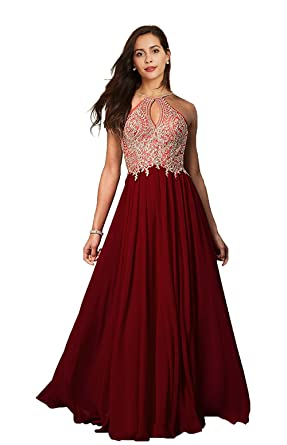 Lily Wedding Womens Halter Gold Applique Prom Bridesmaid Dresses 2018 Long  Chiffon Evening Formal Gowns P199 Burgundy Plus Size 18  Amazon.co.uk   Clothing 423343563