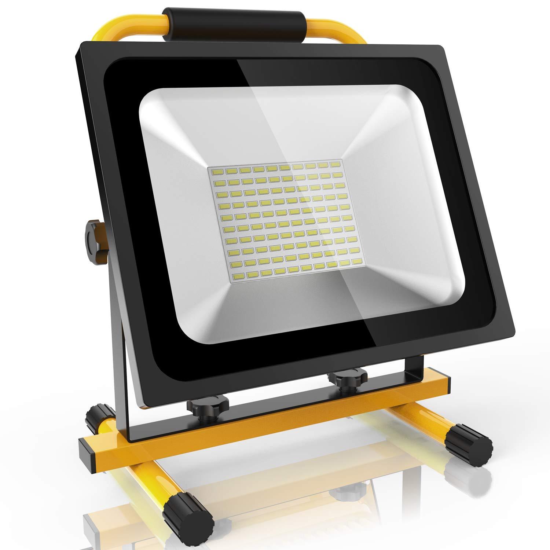 Akku LED Baustrahler 50W Baulampe Akku Strahler, 2 Dimmstufen bis zu 8 Stunden Leuchtdauer, 3800 Lumen Super hell, IP65 Wasserdicht, warmweiß Licht Roilois