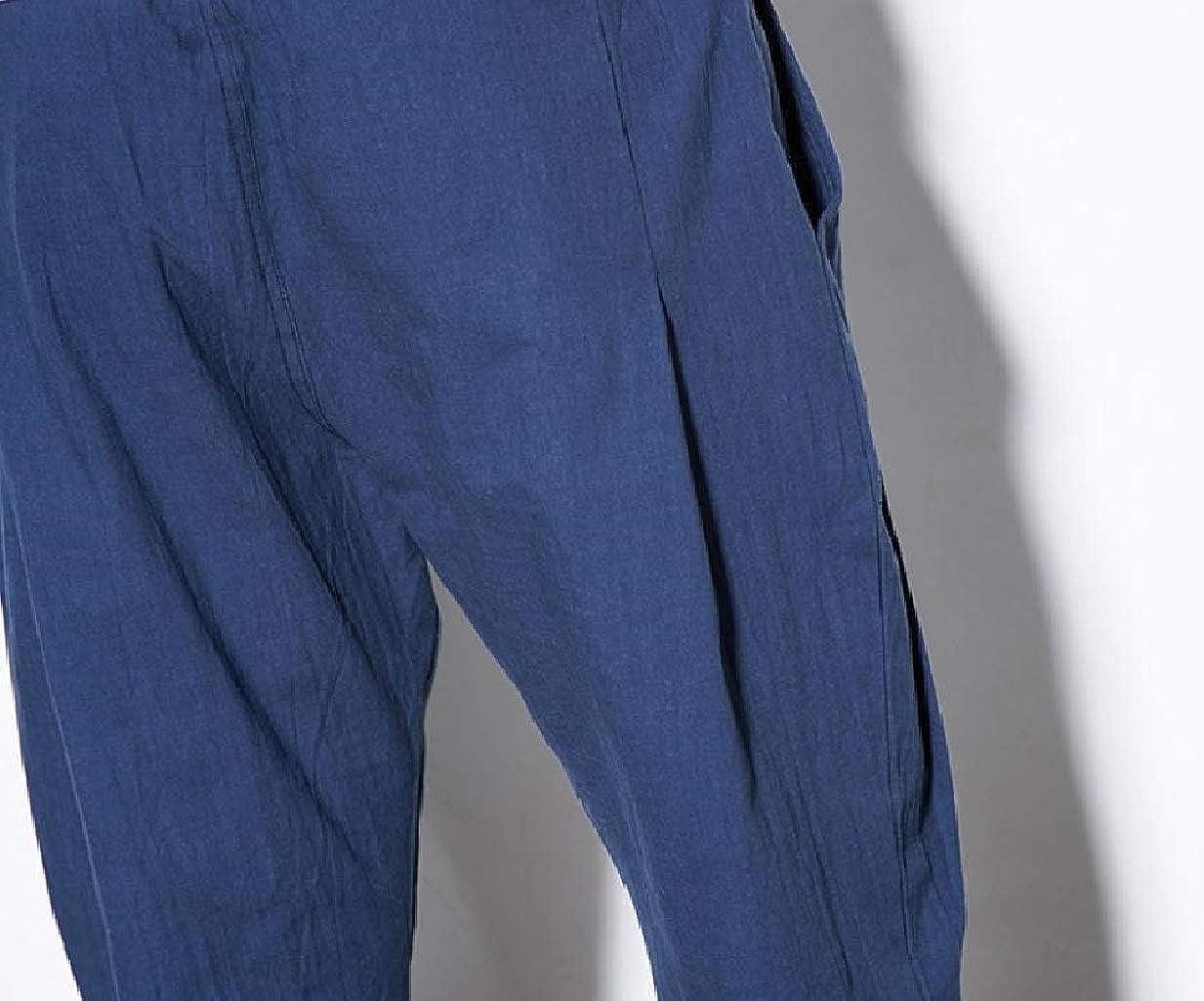 RDHOPE-Men Linen Blend Big and Tall Pocket Cropped Baggy Work Pants