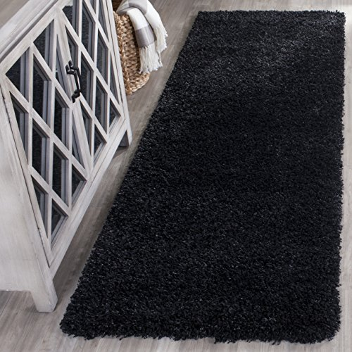 Rug Runner Area Black (Safavieh California Premium Shag Collection SG151-9090 Black Runner (2'3