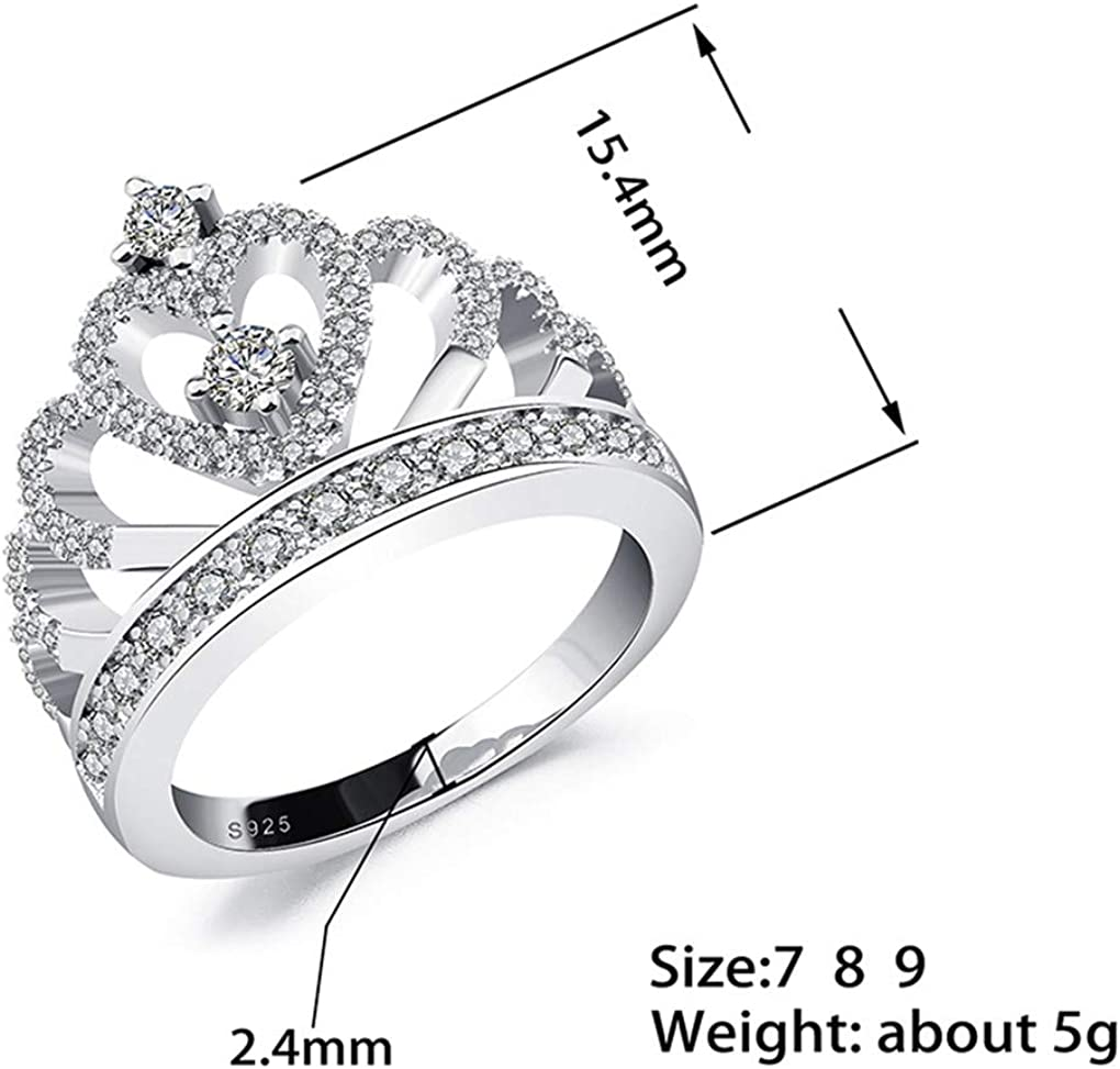 Ferusshomic Princess Style Hollow Heart Silver//Rose Gold Color Crown Ring Engagement Wedding Party s with Box 6