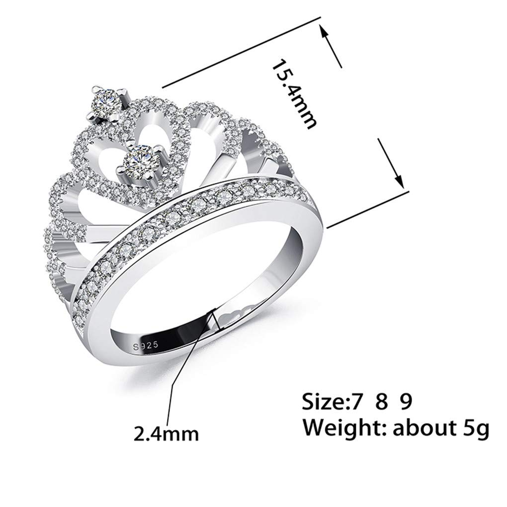 Ferusshomic Princess Style Hollow Heart Silver//Rose Gold Color Crown Ring Engagement Wedding Party s with Box 7