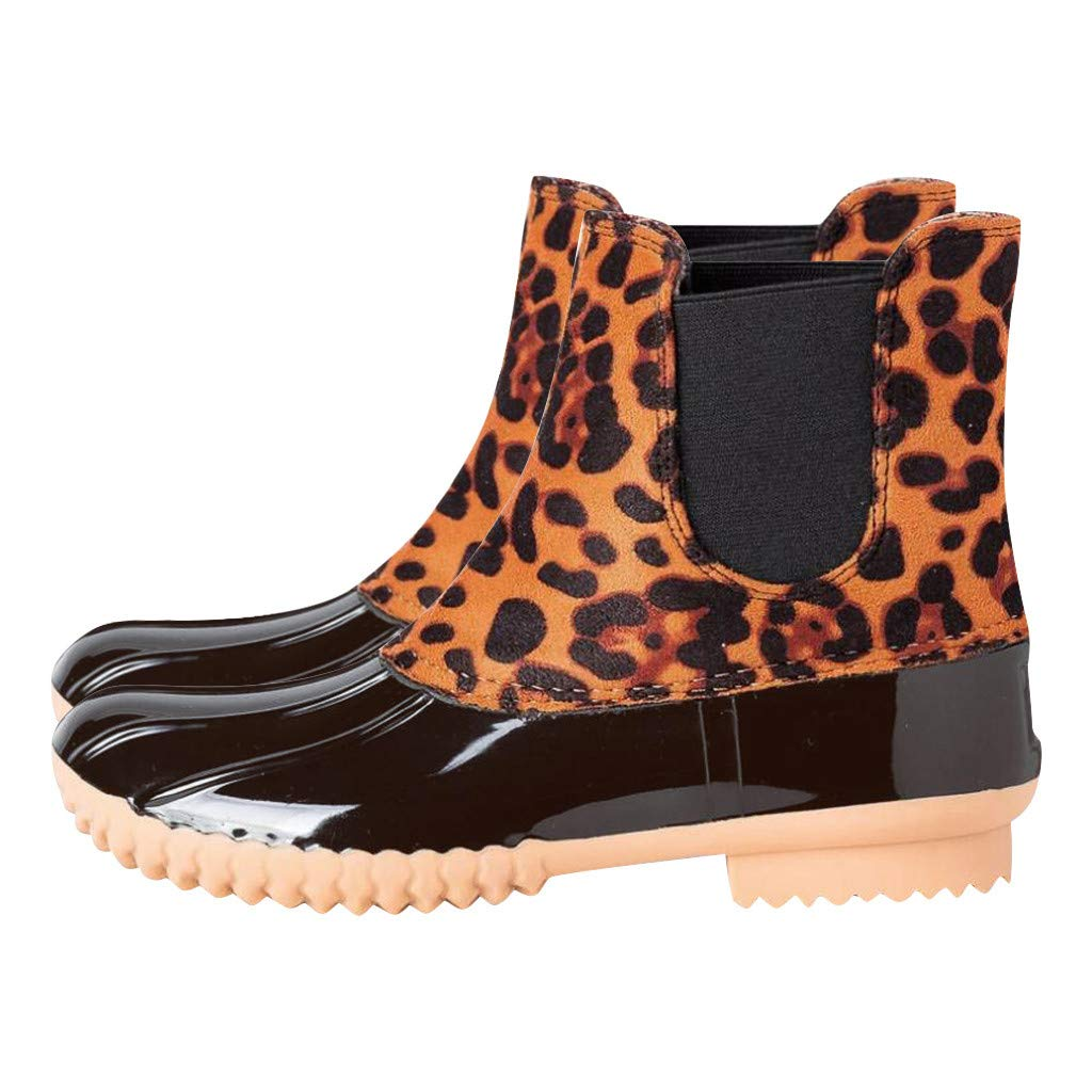 HAALIFE◕‿2019 Ankle Boots for Women Chelsea Boots Waterproof Rain Boots Winter Shoes Women Leopard Booties Plus Size Yellow by HAALIFE Shoes