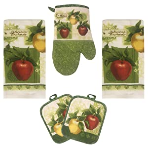 Lobyn Value Packs Apple Orchards Kitchen Towel 5 Piece Linen Set 2 Towels 2 Pot Holders 1 Oven Mitt