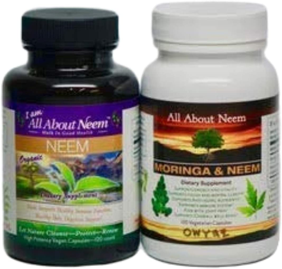 Neem Leaf 1,500 mg and Neem Moringa Oleifera Leaf Powder Organic Capsules – 2 Bottle Set- Wellness Combo, Vegan, Kosher-Made in USA with Purchase