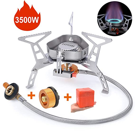 LATTCURE Estufa de Camping Gas 3500W Flexible Quemador de Gas Anti ...