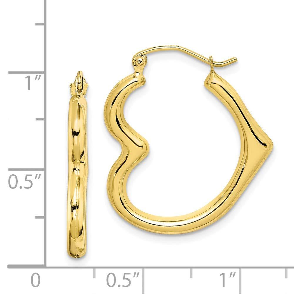 10K White Gold Hollow Heart Shaped Hoop Earrings