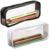 KISEER Pen Case, Pack of 2 Big Capacity Clear Pencil Bag Makeup Pouch Students Stationery with Zipper, Black and White