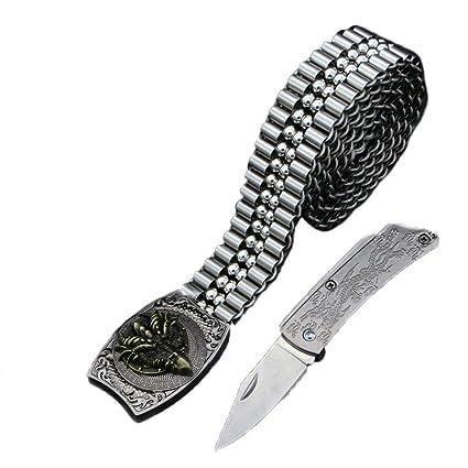 WYFC Cinturones de autodefensa para Hombre Metal Que Teje la ...