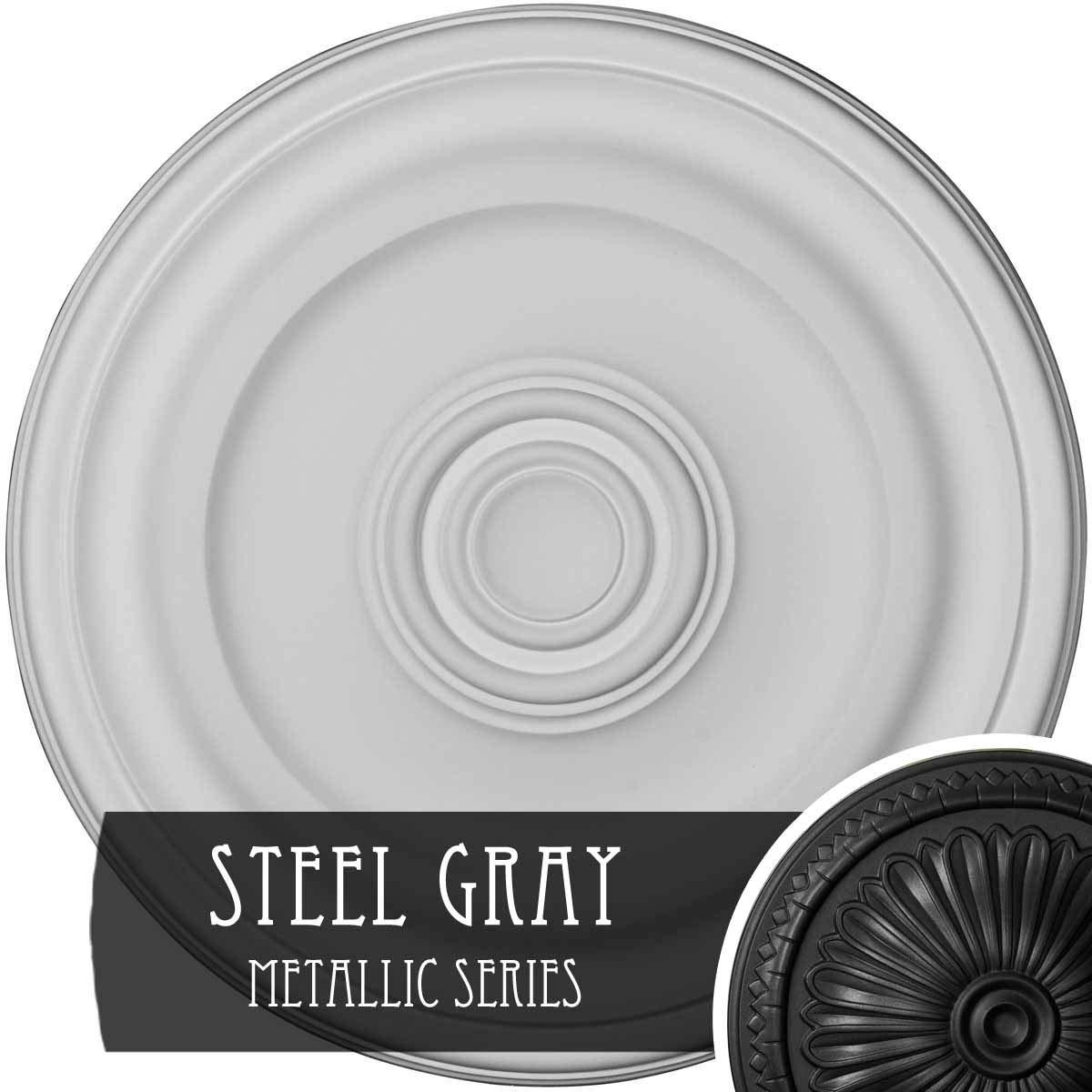 Ekena Millwork CM16KPSGS 15-7/8'' x 1-1/2'' Kepler Traditional Ceiling Medallion, Steel Gray