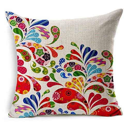TAOSON Floral Plants Cotton Linen Blend Square Toss Pillowcase Cushion Cover Pillow Case with Hidden Zipper Closure Only Cover No Insert 18x18 Inch 45x45cm -60478