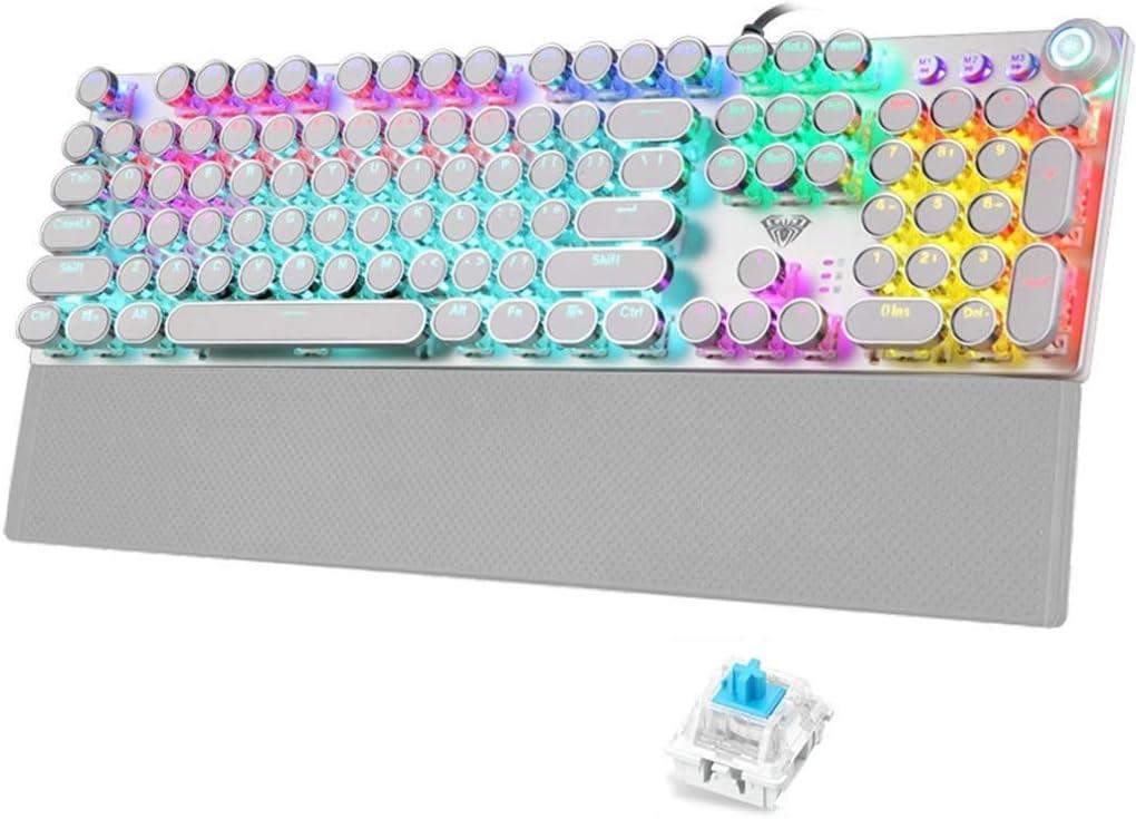 QZ Teclado, con Cable Mecánico Steampunk E-Sports Edición Redonda Plateada - Blanco - Interruptor Azul Retroiluminado Mixto para Computadora De Escritorio Portátil
