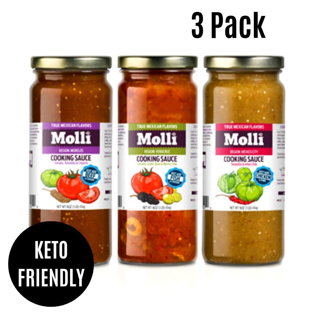 Molli Mexican sauces - slow cooker, skillet sauce, simmering sauce, taco sauce - variety pack, 16 ounce (Pack of 3 Gourmet Mexican)