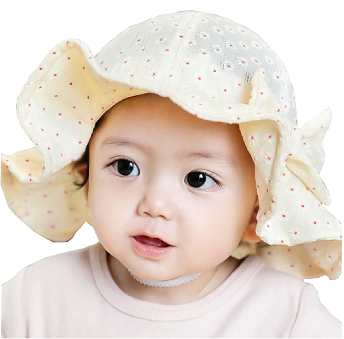Taiycyxgan Baby Sun Hat With Chin Strap Floral Wide Brim Hat Breathable Adjust