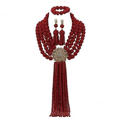 Africanbeads 4 filas rojo boda nigeriano cuentas collares de joyas ...