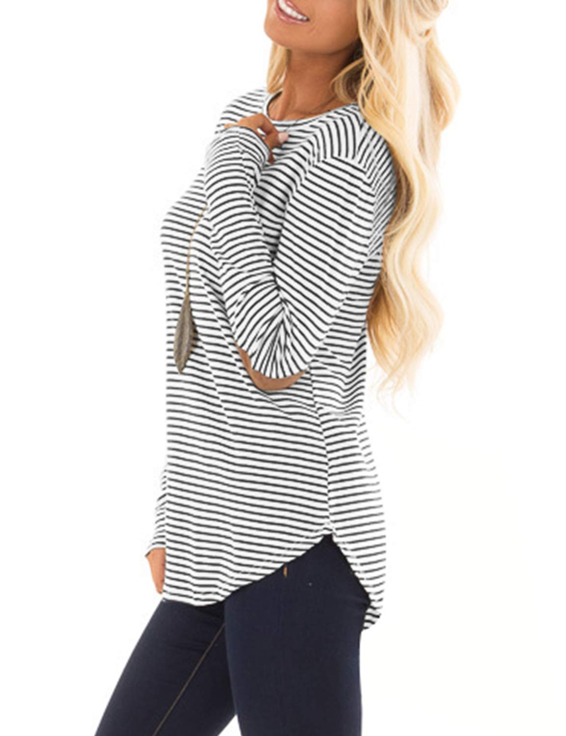 Blooming Jelly Womens Long Sleeve T Shirts Striped Crew Neck Elbow Patch Casual Tee Tops(S,Striped)