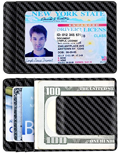 Detachable Id Window - Money Clip, Carbon Fiber RFID Blocking Front Pocket Leather ID Card Holder Black