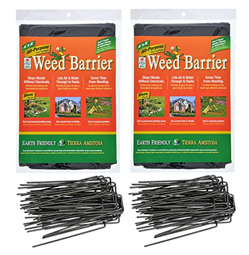 Landscape Fabric Garden Weed Barrier (4'x8') and 6 inch Staples Anchor Pins Bundle (2) by Charmed By Dragons