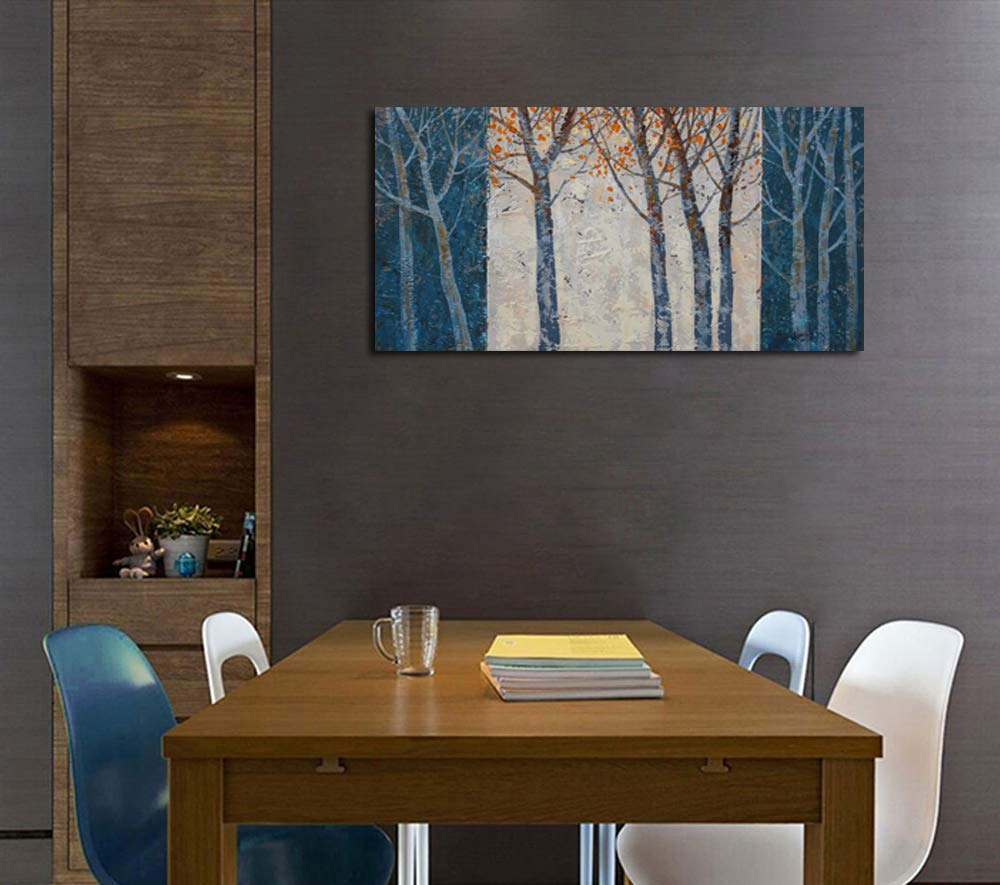 Arjun Riyue Canvas Wall Art Prints Forest Tree Grey Blue Painting Contemporary Abstract Long Wood Picture Framed Ready to Hang for Living Room Bedroom Offfice Home Decor 40''x20'', Original Design by Arjun Riyue (Image #4)