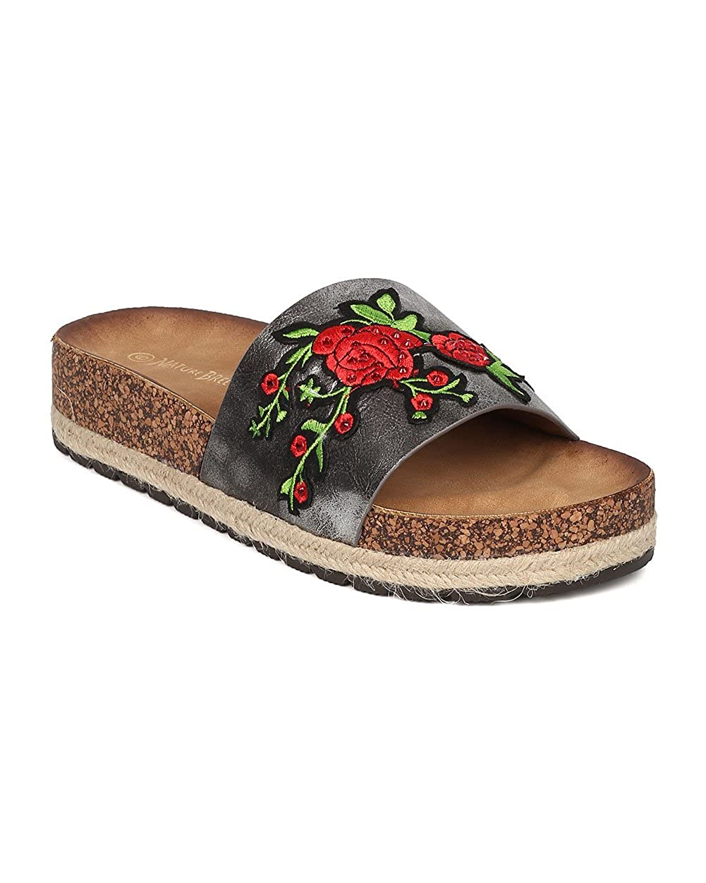 GH94 Roses Footbed Sandal Nature Breeze Women Metallic Embroidered Sandal Espadrille Slide