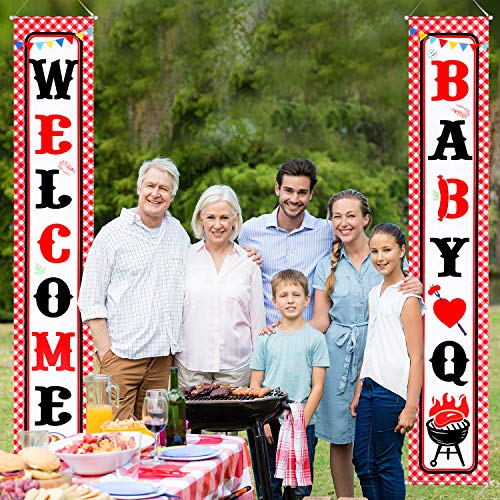 (Baby Q Banner Decorations BBQ Baby Shower Banner for Summer Party Supplies Favors Summer Porch Sign Red Gingham Barbecue Picnic Party Decor Supplies Banner Hanging)