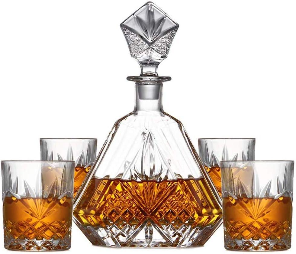 KJRJX 5 Piezas de Cristal Hecho a Mano de la Jarra y Vasos, Decorado con Whisky, Whisky Decanter Adornado Elegante con tapón y 4 Vasos Exquisito cóctel