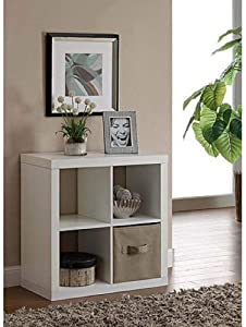 Better Homes and Gardens.. Bookshelf Square Storage Cabinet 4-Cube Organizer (Weathered) (White, 4-Cube)