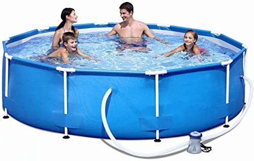 Ylight Metal Frame Pool Set Swimming Pool Round Frame Above Ground Pool Set Model Pond Family Swimming Pool Filter Pump Metal Frame Structure Pool, 12-Foot by 30-Inch