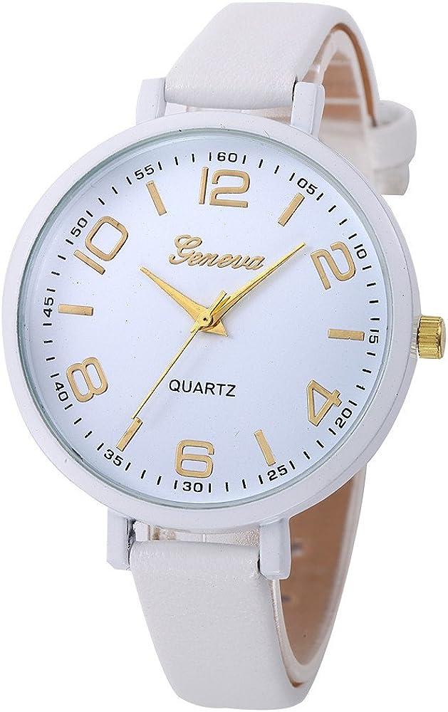 Leedy - Reloj de pulsera analógico de cuarzo para mujer, correa de piel fina, color liso, elegante